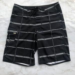 The North Face black & grey swim trunks